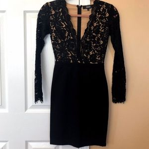Lulu's Black Lace Fitted Dress